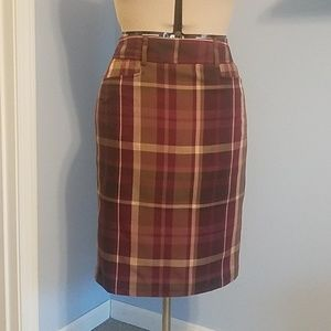 Maroon Plaid Pencil Skirt